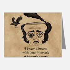 edgar allen poe thank you cards edgar allen poe note cards  poe insane note cards pk of 20