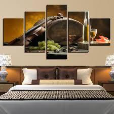 5 Stücke Leinwand Gemälde Küche Wandkunst Wein Glas Eichenfässern