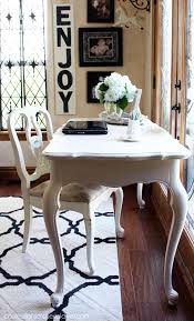 french provincial desk made over with cottage white paint by behr made into diy chalk