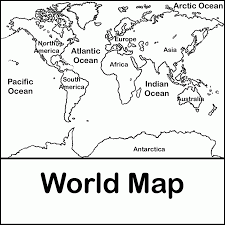 Map Of The World For Kids Coloring Pages - Coloring Home