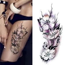 ženy Vodotěsný Design Fialové Lilie Tělo Umění Falešné Tetování Hřbetní Ventrální Nohy Obtisky Temporary Tatto At Vova