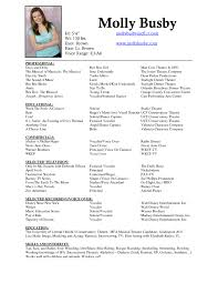Musical Theatre Resume Template Acting With Picture Sample Theatre