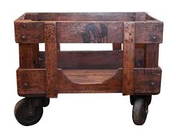 1890s wooden industrial wooden factory cart with cast iron wheels refinished this can be