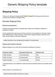 Delivery Order Sample Sample Shipping Policy Template TermsFeed 12