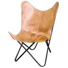 amerihome light tan natural leather erfly chair