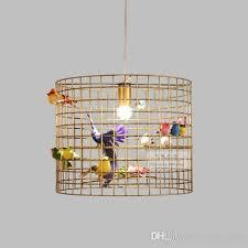 svitz retro copper gold creative wrought iron light bird cage pendant light personality american dining hanging bedroom lamps blue pendant lights retro