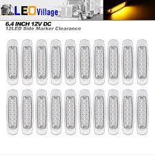 20 Pcs Ledvillage 12v Dc 6 4 Inch Clear Lens Amber Led Side Marker Clearance Lamp Waterproof Flush Mount Rectangle Peterbilt Freightliner Heavy Duty