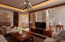 Interior:Porcelain Wallapaper In Chinese Style Living Room With Wooden  Floor Chinese Living Room Interior