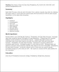 Resume Templates: Sales Order Processor
