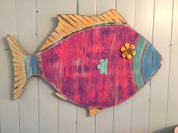 fish wall art wooden sign tropical colours beach by