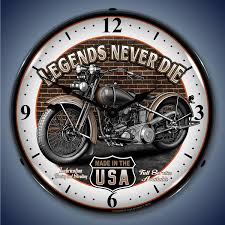 legends never motorcycle wall clock