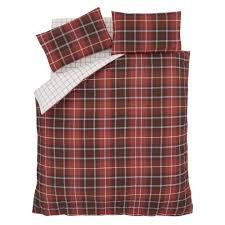 catherine lansfield brushed cotton tartan check single duvet set red 4