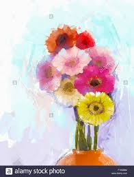 oil painting gerbera flower still life of bouquet yellow and red gerbera flowers in orange color vase