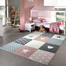 details about girls bedroom rug pink grey stars hearts check pattern soft children carpet mats