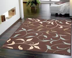 minimalist design ideas using brown laminate floor and rectangular brown motif rugs