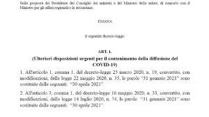 Nuovo decreto Legge Covid pronto: misure dal 16 gennaio, testo ufficiale in  pdf