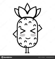 ライン可愛いかわいい面白いパイナップル フルーツ ベクトル イラスト