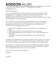 Best Administrative Coordinator Cover Letter Examples Collection Of