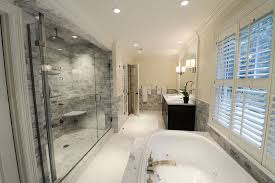 master bathroom with gray tile shower