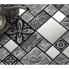 mosaic tile designs. Brushed Stainless Steel Backsplash Mosaic Tile Designs Black Ceramic