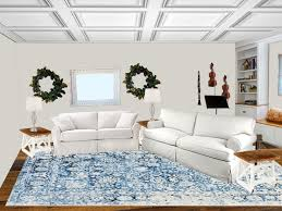 Image Blue Sofa Living Room Rug View Blue Rug Grocery Shrink Trying On Area Rugs With Photoshop Grocery Shrink