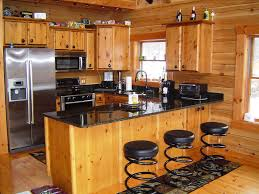 image of rustic log cabin kitchens