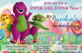 barney party invitation template birthday party invitation card invite personalised return gifts