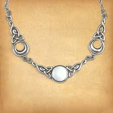 silver magical moon necklace white