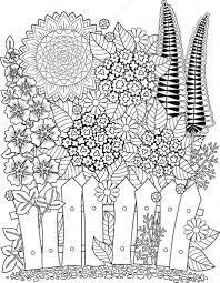 ベクトル落書きひまわり大人のための塗り絵夏の花花壇 ストック