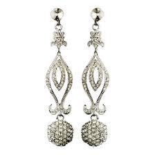 antique silver rhinestone chandelier earrings