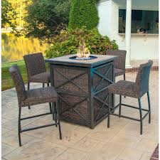 outdoor table set 5 piece fire pit bar height patio set outdoor furniture set with fire outdoor table set