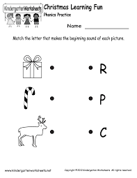 Free Printable Christmas Phonics Worksheet for Kindergarten