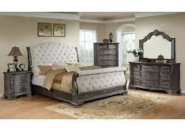 Upholstered Sleigh Bed Antique Grey Upholstered King Sleigh Mark