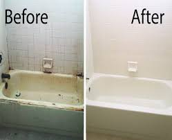 a before after picture of a mesa bathtub refinished by our team
