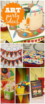 an art birthday party held at a local pottery painting studio with a fun food table