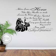 on horse wall decor stickers with horse wall stickers advice from a horse quote vinyl mural decor decal
