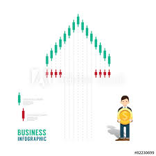 Business Infographic Stock Candle Chart Graph Concept Step
