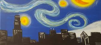 chicago skyline van gogh starry night