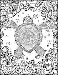 Animal Adult Coloring Page Turtle Coloring