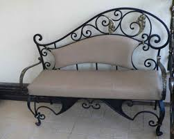 rod iron furniture design. wrought iron bench with soft cushion rod furniture design lushome
