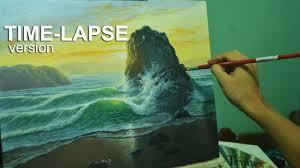 time lapse acrylic painting demo sunrise beach by jmlisondra