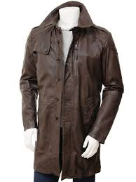 mens brown leather trench coat battledown front