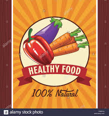 Design A Poster On The Topic Of Healthy Food Healthy Food Poster With Emblem And Ribbon Banner Vector