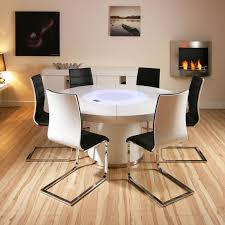 sentinel large round white gloss dining table 6 white black dining chairs