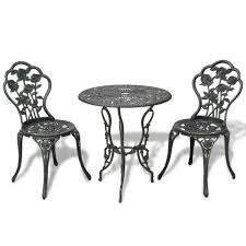 3pc bistro set green cast aluminium garden patio coffee table 2 chairs furniture