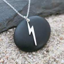 silver lightning bolt necklace