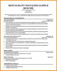 8 Restaurant Manager Resume Buisness Letter Forms