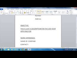 how to write a simple resume how to write a basic resume youtube