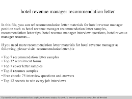 recommendation sample hotel revenue manager recommendation letter