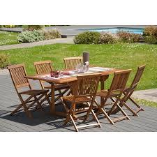 MILO Ensemble repas de jardin en bois teck huilé 6 places - Table ...